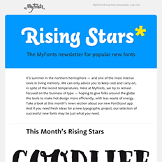 MyFonts Rising Stars Newsletter, July 2015