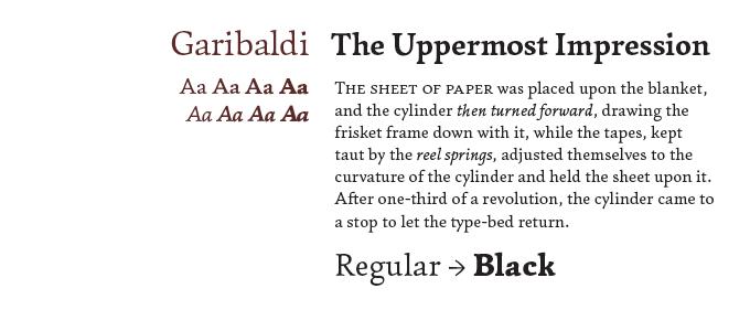 Garibaldi Font Sample