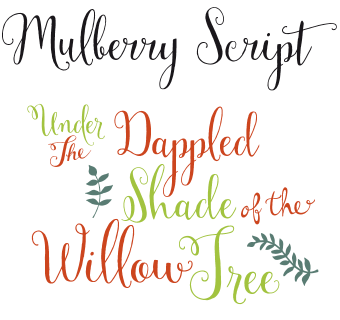 Mulberry Script Font Sample