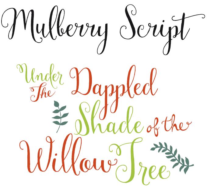Mulberry Script Font Sample
