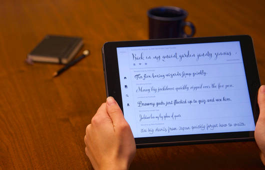 A person using the FontScout iPad app