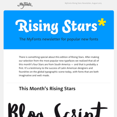 MyFonts Rising Stars Newsletter, August 2015