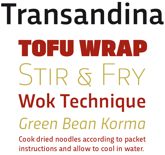 Transandina Font Sample