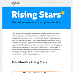 MyFonts Rising Stars Newsletter, October 2015