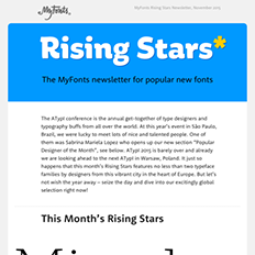 MyFonts Rising Stars Newsletter, November 2015