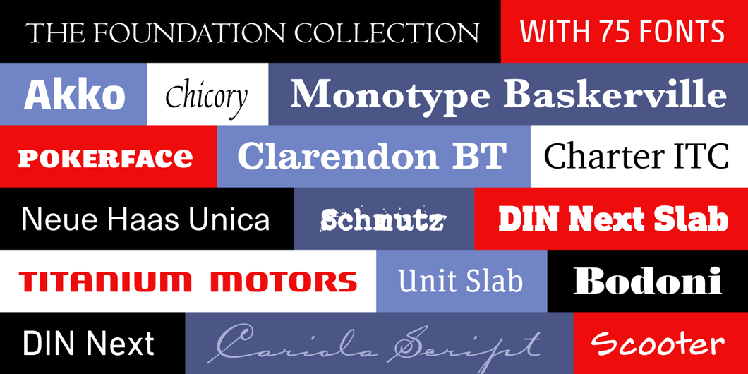 The Foundation Collection is a package of high quality text and display families