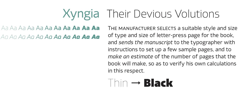 Xyngia Font Sample