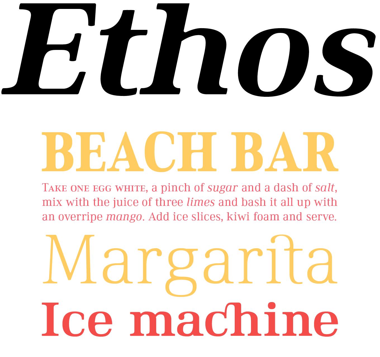 Ethos Font Sample