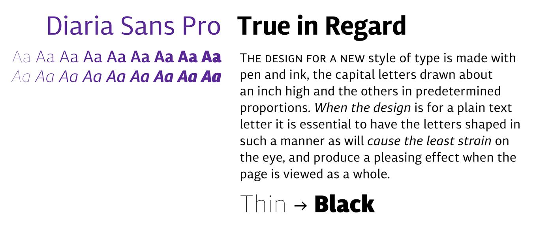 Diaria Sans Pro Font Sample