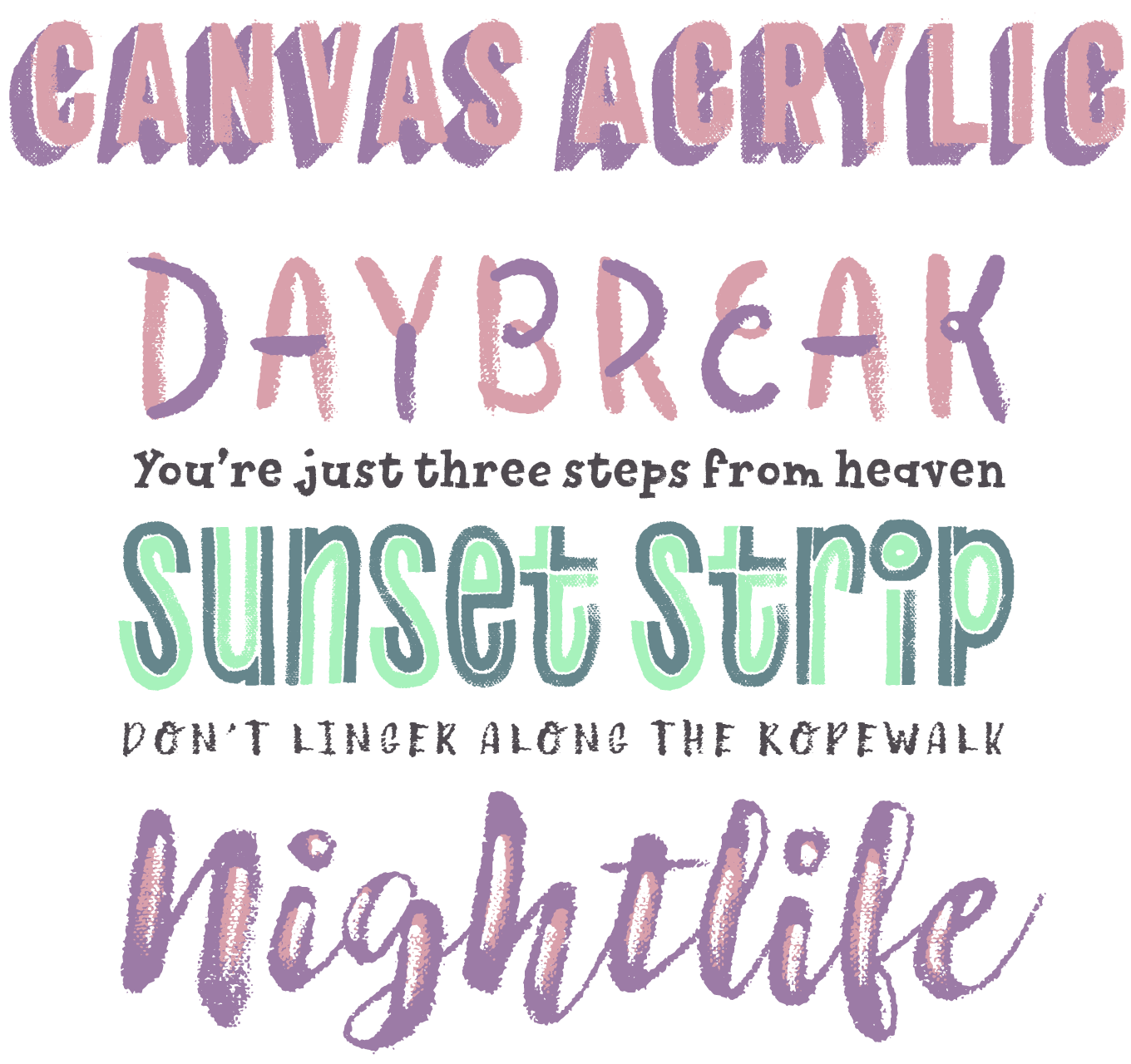 Canvas Acrylic Megafamily Font Sample