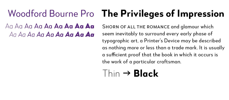 Woodford Bourne Pro Font Sample