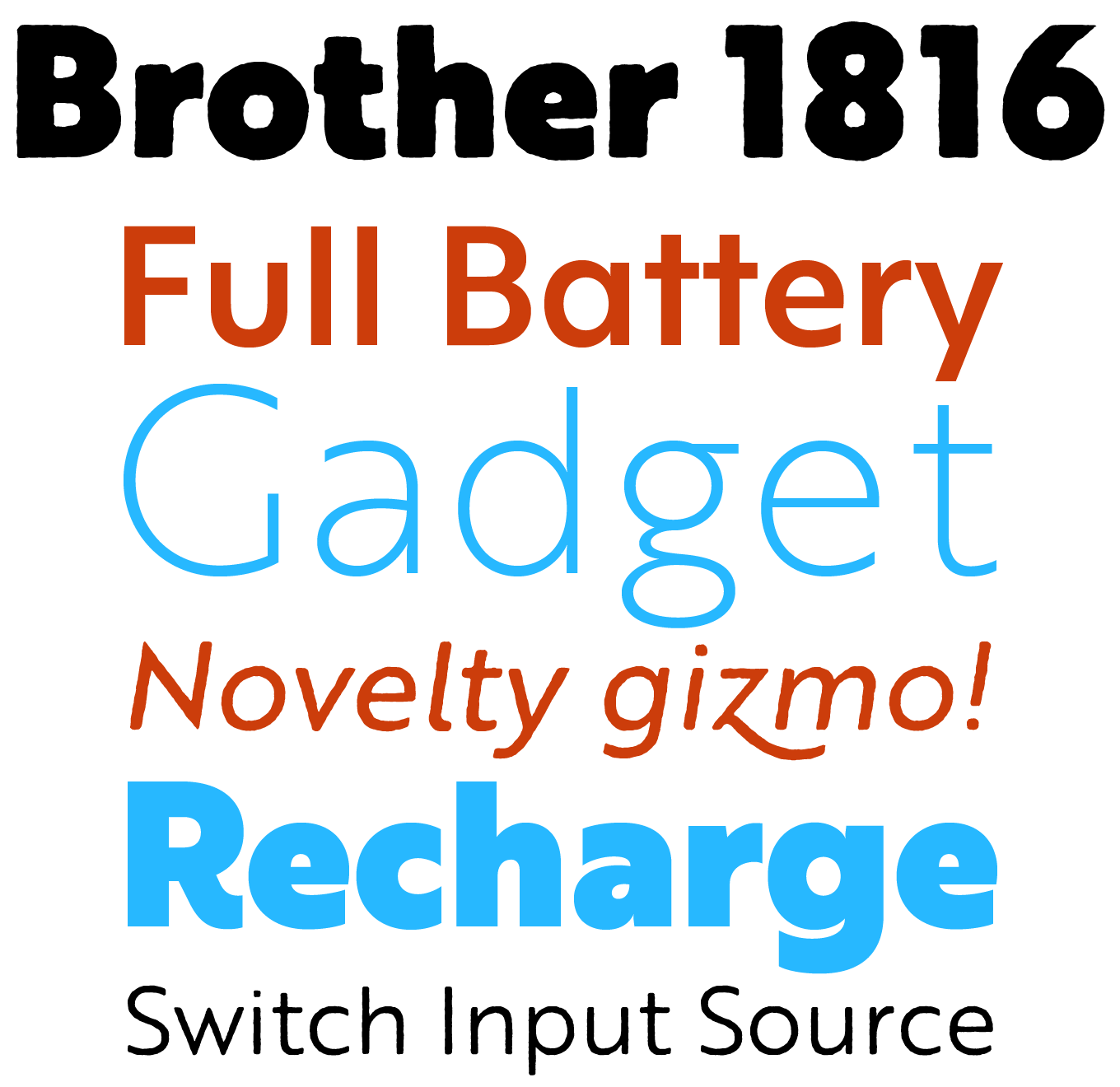 Brother 1816 Font Sample