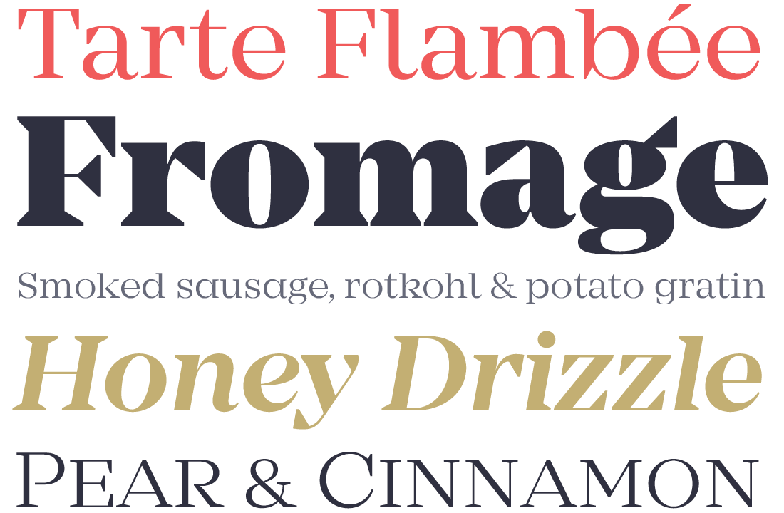 Mirador - a highly contrasted serif family — resulting in a classy typeface of lavishly wide proportions. Suited for headlines as well as short body text