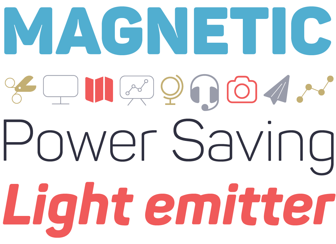 The squarish sans basic shape with straight sides, plus the lack of spurs where curves meet stems, plus rounded corners, plus exaggerated ink traps in fat uppercase characters (like M and N in MAGNETIC, above) plus a huge collection of icons.