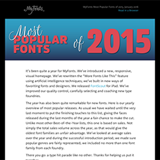 MyFonts Most Popular Fonts of 2015, January 2016